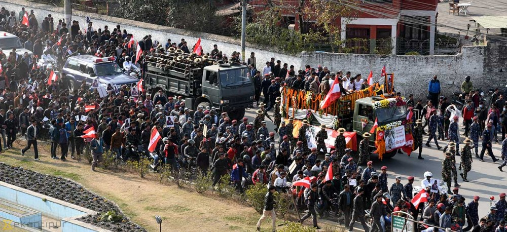 Koirala's funeral procession underway (Photo feature)