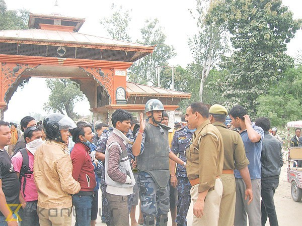 Nepali And Indian Police At The Nepalgunj Rupaidiha Border Following Clashes Between Locals Slmm Protesters On October 29
