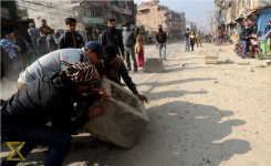 Fed up with dust, locals shutdown Kalanki-Soltimode road section (In photos)