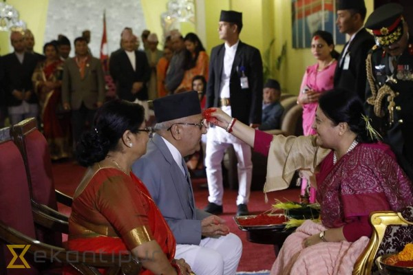President Bhandari offers tika to general public (In photos)