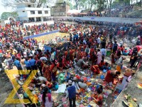Devotees throng the Matatirtha Temple to mark the Matatirtha Aunsi or Mother's Day festival, at Chandragiri Municipality in Kathmandu on Wednesday. People who have lost their mothers visit the temple to offer prayers on the occasion of Mother's Day.