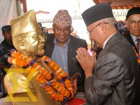 CPN-UML Chairman KP Sharma Oli pays respect to the statute of late UML leader Manmohan Adhikari on the occasion of his 18th death anniversary in Kathmandu on Wednesday. Adhikari was the former Prime Minister and CPN-UML Chairman.