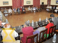 Leaders of different political parties attend the all-party meeting called by Prime Minister Pushpa Kamal Dahal in Baluwatar on Friday.