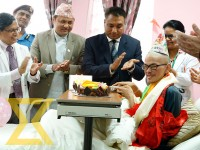 Tiwanese trekker Liang Sheng-yueh, who was rescued alive 47 days after he went missing in Langtang region, celebrates his 22nd birthday at the Dhapasi-based Grande International Hospital in Kathmandu on Friday.