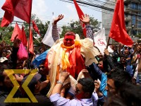 Supporters and winner candidate of CPN (Maoist Centre) celebrate the election victory at Lalitpur Metropolitan City- 21 and Lalitpur Metropolitan City-22 on Monday.