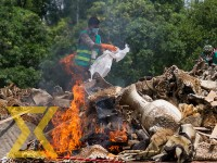 A stockpile of wildlife body parts is being burned at Chitwan National park, Chitwan, on Monday.
