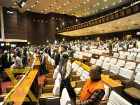 Lawmakers attend the first meeting of parliamentary budget session at the Parliament building in Baneshwor, Kathmandu on Monday.