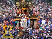 Devotees pull the chariot of Rato Machhindranath during the Rato Machhindranath Chariot festival in Jawalakhel, Lalitpur on Monday. The last event of the festival, Bhoto Jatra will be held on Thursday.