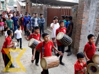 Children play traditional instruments while taking part in a victory rally at ward-19 in Kageshwori of the Capital on Tuesday.