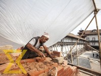 A worker renovates Kageshwori Mahadev Temple at Hanumandhoka Durbar Square in the Capital on Wednesday.