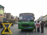 A Sajha bus drops passengers at a bus stop in Balkot, Bhaktapur, on Wednesday. Sajha Yatayat has started service in Bhaktapur from today.