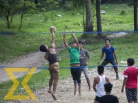 People play volleyball at UN Park in Lalitpur on Thursday.