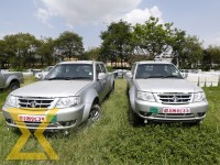 Brand new vehicles belonging to the Election Commission (EC) parked in the premises of EC office at Kantipath in Kathmandu on Friday.