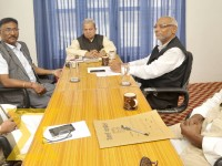 Rastriya Janata Party-Nepal (RJP-N) leaders attend a meeting to discuss third phase of local level elections slated for September 18 at Babarmahal in the Capital on Friday.