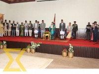 President Bidya Devi Bhandari administers oath of office and secrecy to the newly appointed ministers amid a function in the Capital on Wednesday.