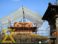 Workers erect scaffolding for the reconstruction of Harishankar Temple on the premises of Patan Durbar Square, Lalitpur on Sunday. The temple was damaged by earthquake of April 2015.