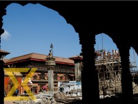 This image shows a view of reconstruction works of Shree Vatsala Durga Temple at Bhaktapur Durbar Square on Tuesday. The World Heritage Site temple was destroyed by the massive earthquake of April 25, 2015.