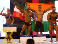 (From left to right) Binita Rai of Nepal, Amir Hossuin Saadatnia of Iran, Saurabh Singh of India and Janie Do Rego of UAE pose for a photo after winning the pro card during IFBB Professional League Nepal Bodybuilding Championship 2019 (Pro Qualifier) at A