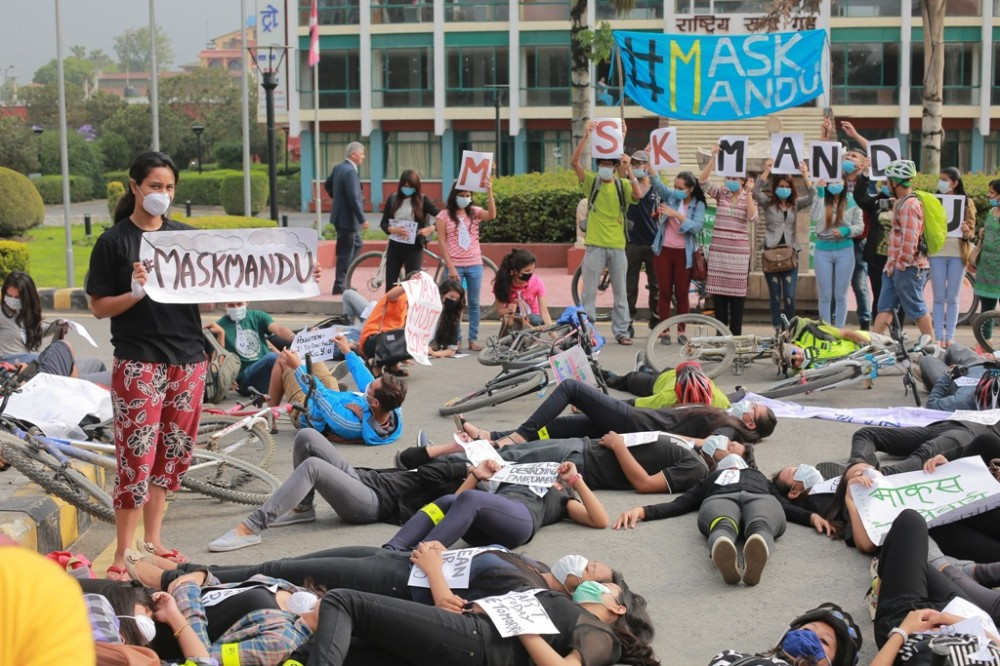 World Environment Day: Campaigners lay dead demanding right to clean air